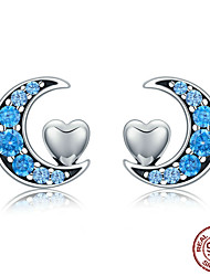 cheap -Genuine 100% 925 Sterling Silver Blue CZ Moon & Sweet Heart Stud Earrings for Women Sterling Silver Jewelry S925 SCE330