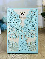"cheap -Wrap & Pocket Wedding Invitations 30pcs - Invitation Cards / Invitation Sample / Bridal Shower Cards Artistic Style / Fairytale Theme / Bride & Groom Style Pearl Paper 5""×7 ¼"" (12.7*18.4cm)"