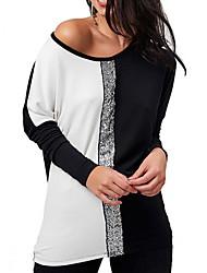cheap -Women's Daily Basic T-shirt - Color Block Sequins Light Blue