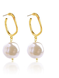 cheap -Women's Drop Earrings Earrings Dangle Earrings Geometrical Shell Bohemian Fashion Imitation Pearl Gold Plated Earrings Jewelry Gold For Daily Prom Holiday Bar Festival 1 Pair