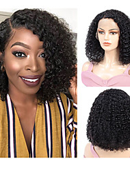 cheap -Remy Human Hair Full Lace Lace Front Wig Side Part style Brazilian Hair Afro Curly Black Wig 130% 150% 180% Density Women Natural Adorable Hot Sale Comfortable Women's Short Human Hair Lace Wig