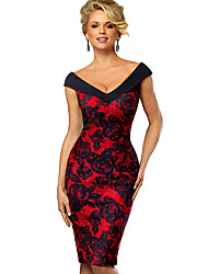 cheap -Women's Wine Red Dress Elegant Sophisticated Bodycon Sheath Color Block Off Shoulder Sweetheart Neckline Patchwork Print S M