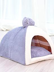 Недорогие -Собаки Кролики Коты Кровати Кровать пещеры обниматься Коврики и подушки Плюшевая ткань Плюш Однотонный Контрастных цветов Кофейный Синий Розовый
