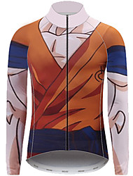 cheap -21Grams Dragon Ball Monkey King Men's Long Sleeve Cycling Jersey - Brown Bike Jersey Top UV Resistant Breathable Quick Dry Sports Winter Fleece 100% Polyester Mountain Bike MTB Clothing Apparel