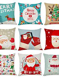 Недорогие -9 штук Лён Наволочка, Животное Графические принты Рождество Бросить подушку