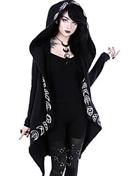 cheap -Women's Daily Basic Long Cloak / Capes, Geometric Hooded Long Sleeve Polyester Black / Loose
