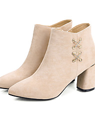 cheap -Women's Boots Chunky Heel Pointed Toe Faux Leather / PU Spring / Fall & Winter Black / Beige