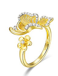 cheap -Women's Adjustable Ring AAA Cubic Zirconia 1pc Gold S925 Sterling Silver Unique Design European Trendy Gift Daily Jewelry Floral Theme Tree of Life Cute