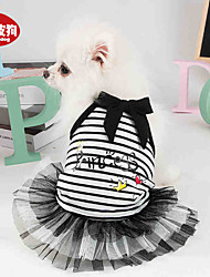 cheap -Dogs Cats Pets Dress Dog Clothes Black Pink Costume Dalmatian Beagle Pug 100% Polyester Bowknot Princess Flower Party / Evening Fashion XS S M L XL