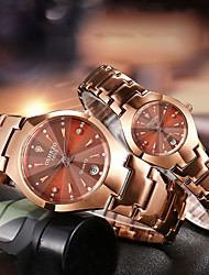 cheap -Couple's Steel Band Watches Quartz Formal Style Stylish Stainless Steel Black / Rose Gold 30 m Water Resistant / Waterproof Calendar / date / day Casual Watch Analog Classic Fashion - Black Rose Gold