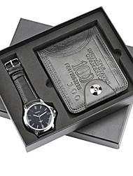 cheap -Men's Dress Watch Quartz Leather Black No Chronograph Cute New Design Analog New Arrival Minimalist - Black Black / White One Year Battery Life