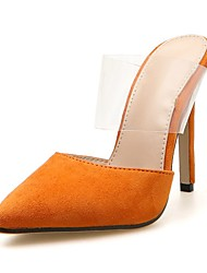 cheap -Women's Heels Stiletto Heel Pointed Toe Faux Leather / Mesh Casual / Minimalism Walking Shoes Summer / Spring & Summer Black / Orange / Daily / 3-4