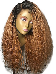 cheap -Synthetic Lace Front Wig Curly Side Part Lace Front Wig Ombre Long Ombre Black / Medium Auburn Synthetic Hair 20-26 inch Women's Adjustable Heat Resistant Party Brown Ombre