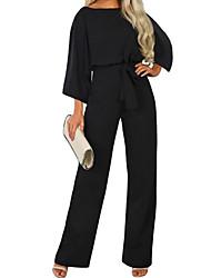 cheap -Women's Street chic Black Navy Blue Beige Jumpsuit, Solid Colored Drawstring S M L
