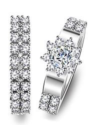 Недорогие -Для пары Кольца для пар Кольцо 1шт Белый Серебряный Медь Круглый Классический корейский Мода Свадьба Бижутерия Цветы Милый