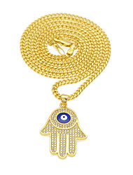 cheap -Men's Women's AAA Cubic Zirconia Pendant Necklace Y Necklace Long Necklace Classic Eyes Hand Evil Eye European Trendy Rock Fashion Zircon Copper Gold 60 cm Necklace Jewelry 1pc For Gift