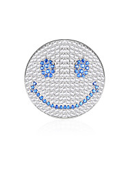 cheap -Women's AAA Cubic Zirconia Brooches Face Joy Simple Vintage Sweet Fashion Army Brooch Jewelry Black Blue For Wedding Party Engagement Gift Work