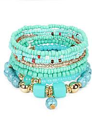 cheap -5pcs Women's Black Green Red Bead Bracelet Vintage Bracelet Earrings / Bracelet Layered Weave Vintage Ethnic Korean Fashion Boho Alloy Bracelet Jewelry Black / White / Green For Daily