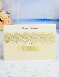 "cheap -Wrap & Pocket Wedding Invitations 30pcs - Invitation Cards / Thank You Cards / Response Cards Artistic Style / Modern Style Pearl Paper 5""×7 ¼"" (12.7*18.4cm) Satin Bow / Sash / Ribbon"