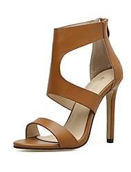 cheap -Women's Heels Stiletto Heel Peep Toe PU Summer Black / Brown / Daily
