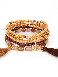 cheap -3pcs Women's Black Brown Green Bead Bracelet Vintage Bracelet Earrings / Bracelet Layered Weave Tassel Vintage Ethnic Fashion Boho Stone Bracelet Jewelry Black / Brown / White For Daily