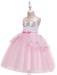 abordables -Licorne Robe Costume de Cosplay Bal Masqué Fille Cosplay de Film Robe trapèze Cosplay Halloween Bleu / Rose / Beige Robe Halloween Le Jour des enfants Mascarade Tulle Mélange Poly / Coton
