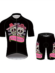 cheap -21Grams Sugar Skull Women's Short Sleeve Cycling Jersey with Shorts - Pink Bike Clothing Suit Breathable Quick Dry Anatomic Design Sports 100% Polyester Mountain Bike MTB Clothing Apparel