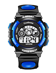 cheap -Kids Digital Watch Digital Modern Style Sporty Rubber Black / Blue 30 m New Design LED Light LCD Digital Fashion Cool - Black Blue Two Years Battery Life