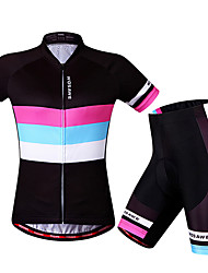 cheap -WOSAWE Women's Short Sleeve Cycling Jersey with Shorts Elastane Polyester Black / Red Bike Shorts Jersey Padded Shorts / Chamois Breathable 3D Pad Quick Dry Anatomic Design Reflective Strips Sports