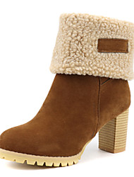 cheap -Women's Boots Snow Boots Chunky Heel Round Toe Suede Booties / Ankle Boots Classic / Minimalism Fall & Winter Black / Dark Brown / Yellow