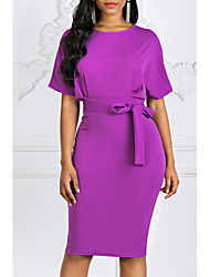 cheap -Women's Kentucky Derby Purple Yellow Dress Elegant Daily Formal Sheath Solid Colored Pure Color Fashion S M / Sexy