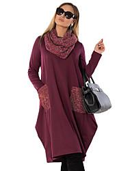 abordables -Femme Basique Elégant Midi Tee Shirt Robe Couleur Pleine Vin Bleu Roi Vert L XL XXL Manches Longues