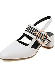 cheap -Women's Sandals Chunky Heel Closed Toe Imitation Pearl / Buckle Faux Leather Sweet / Minimalism Walking Shoes Summer / Spring & Summer Black / White / Yellow / Color Block