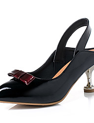cheap -Women's Sandals Stiletto Heel Pointed Toe Bowknot PU Minimalism Spring &  Fall Black / Yellow / Burgundy