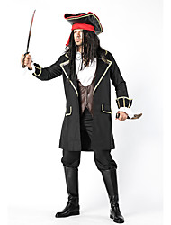 cheap -Pirates of the Caribbean Cosplay Costume Outfits Masquerade Adults' Men's Cosplay Halloween Halloween Festival / Holiday Cotton Polyster Black Men's Carnival Costumes