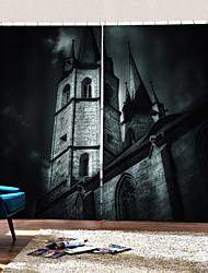 Недорогие -3d цифровая печать на заказ занавес вечеринка хэллоуин тема темный замок фон шторы утолщение плотные ткани занавес