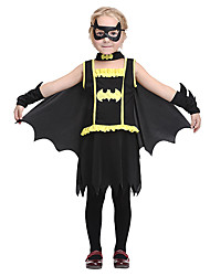 cheap -Bat Dress Outfits Halloween Props Masquerade Kid's Girls' Halloween Halloween Festival / Holiday polyester fibre Black Carnival Costumes