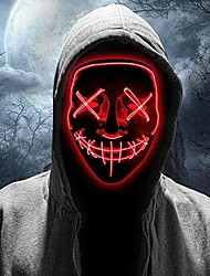 cheap -Halloween Scary Mask Costumes LED Light up Mask Cosplay Glowing Party Masque Masquerade Mask Costume Accessories 3 Lighting Modes Party Holiday Supplies