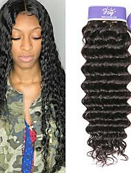 Недорогие -3 Связки Перуанские волосы Глубокий курчавый человеческие волосы Remy 100% Remy Hair Weave Bundles 150 g Человека ткет Волосы Удлинитель Пучок волос 8-28 дюймовый Нейтральный Ткет человеческих волос