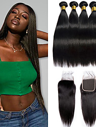 cheap -3 Bundles with Closure Brazilian Hair Straight 100% Remy Hair Weave Bundles Hair Weft with Closure 8-20 inch Natural Human Hair Weaves Party Women Extention Human Hair Extensions Women's