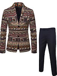 cheap -Men's Plus Size Suits, Geometric Notch Lapel Linen / Rayon / Polyester Black