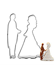cheap -2pcs Bride Groom Shape Stainless Steel Cake Mold Cookie Cutter Cake Decorating Tools Sugarcraft Baking Tool