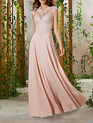 cheap -A-Line Jewel Neck Floor Length Chiffon / Lace Elegant & Luxurious Formal Evening Dress 2020 with Appliques / Pattern / Print