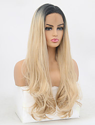 cheap -Synthetic Lace Front Wig Wavy Body Wave Free Part Lace Front Wig Ombre Long Black / Gold Synthetic Hair 8-12 inch Women's Soft Elastic Women Ombre / Glueless