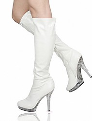 cheap -Women's Boots Stiletto Heel Round Toe PU Mid-Calf Boots British Fall & Winter White / Wedding / Party & Evening