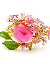 cheap -Women's Ring 1pc Pink Imitation Diamond Alloy Round Korean Fashion Cute Daily School Jewelry Fancy Flower