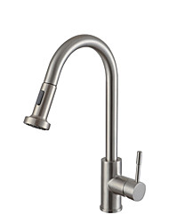 cheap -Kitchen faucet - Single Handle One Hole Nickel Brushed Pull-out / ­Pull-down Centerset Contemporary Kitchen Taps