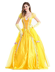 cheap -Princess Fairytale Belle Dress Flower Girl Dress Women's Girls' Movie Cosplay A-Line Slip Princess Yellow Dress Gloves Halloween Carnival New Year Terylene