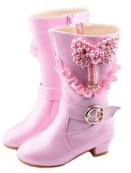 abordables -Fille Chaussures de Demoiselle d'Honneur Fille Matière synthétique Bottes Grands enfants (7 ans et +) Violet / Rose Hiver / Bottes Mi-mollet