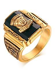 cheap -Band Ring Sculpture Black Burgundy Blue Titanium Steel Austria Crystal Lion Luxury Trendy Rock 1pc 7 8 9 10 11 / Men's